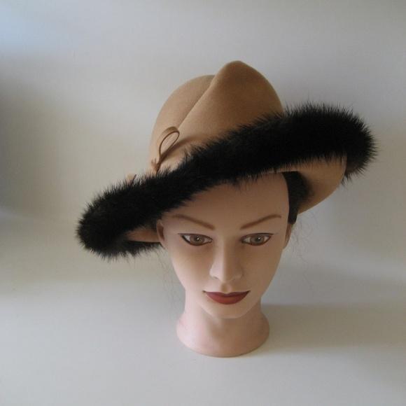 Vintage 50 s Hat Mink fur trimmed fedora. M 5b903f494ab633447f18b9c0 af3f84f262c
